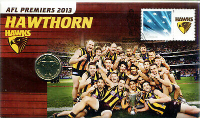 2013 Hawthorn AFL Premiers PNC/FDC with RAM $1UNC coin & $1 Hawks stamp Ltd Edt