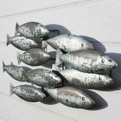 Mural Shoal Iron Grey 97cm Fish Picture Silver Fischbild Wall Decoration