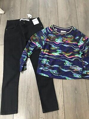 Girls BNWT  Black Jeans And Converse Top  Outfit Age 10-12 Years