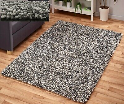 Thick Fluffy Chunky Felted Wool Pile Grey Mix Long Soft Shaggy High Quality Rug