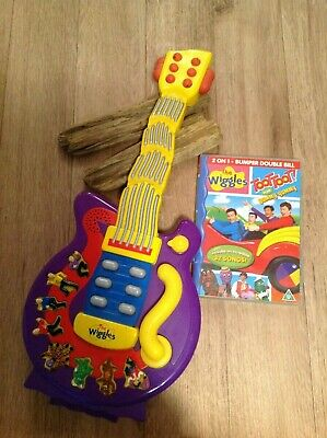 The Wiggles Wiggling Dancing Guitar 2004 SpinMaster Music & DVD Set  USED
