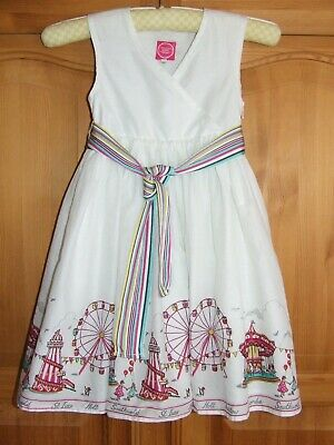 Girls Joules white dress with fair pattern age 5 years