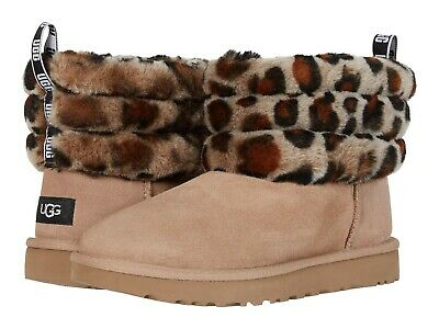 UGG Women's Fluff Mini Quilted Leopard Fashion Boot