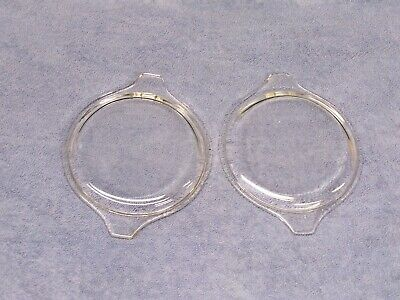 Two Vtg PYREX Clear Glass Cover Cinderella Lid 470 C Tab handles MINT Condition