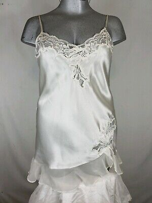 Oscar de la Renta  Pink Label White Satin Negligee Short Lace Medium Night Gown