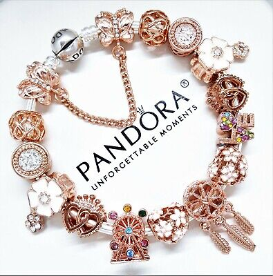 Authentic Pandora Silver Bracelet Rose Gold Angel Love Heart European Charms