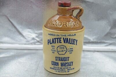 Vintage 1960's McCormick Platte Valley Straight Corn Whiskey Jug with Lid