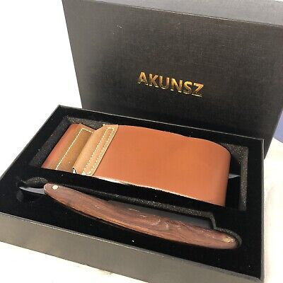 Straight Razor Kit AKUNSZ Black Cutthroat Razor with Leather Strop