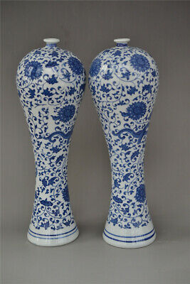 Old antique  Chinese porcelain Blue and white drawing Flower vase A pair