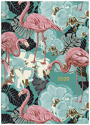 2020 Milford Flamingo Blue Flowers Diary A5 Week to View