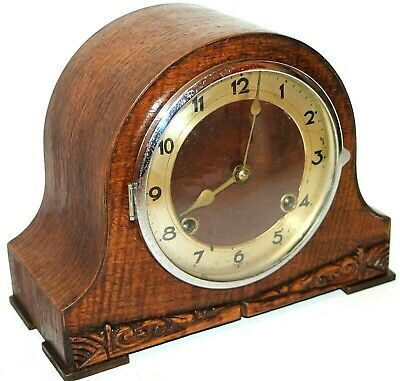 Antique / Vintage Art Deco Carved Walnut Mantel Clock W/ Replaced 8 Day Movement