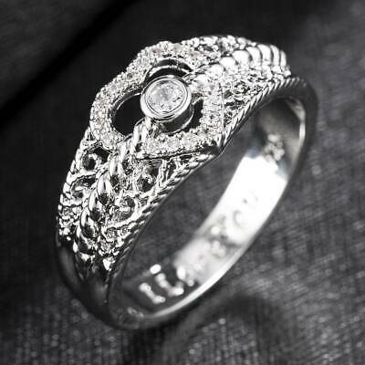 Fashion Heart 925 Silver Stamped Women White Sapphire Wedding Ring Jewelry Gift