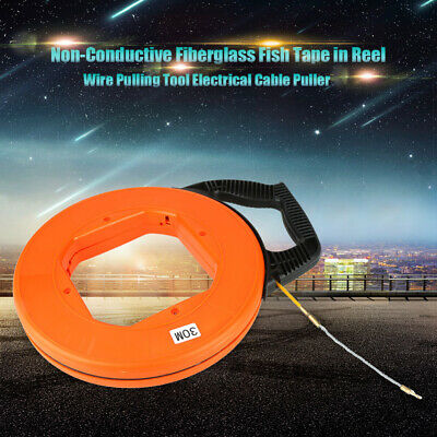 30M Fiberglass Fish Tape Reel Puller Conduit Ducting For Pulling Wire Cable