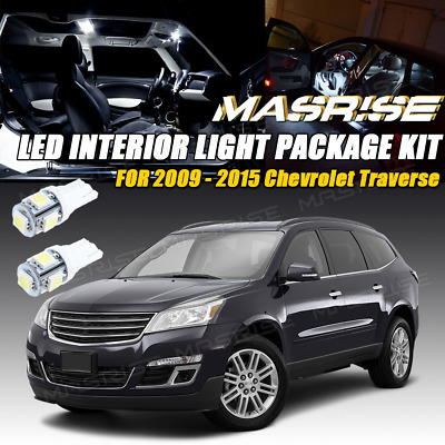 11x White LED Lights Interior Package Deal For 2009-2015 Chevrolet Traverse