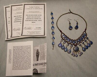 Sadigh Gallery Jewelry Necklace Earrings Bracelet Set Certificate Lapis Lazuli