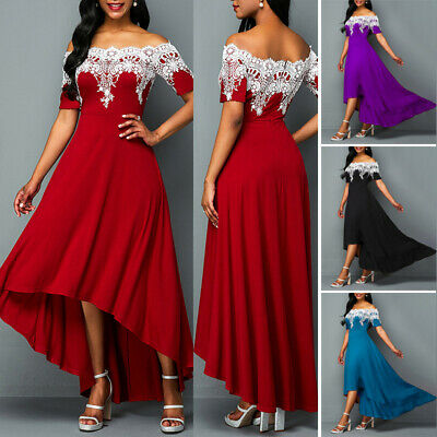 Womens Lace Off Shoulder Maxi Dress Formal Evening Party Cocktail Prom Ball Gown
