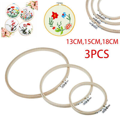 3pcs Needlecrafts Yarn Embroidery Cross Stitch Bamboo Hoop Frame Ring Tool Sets