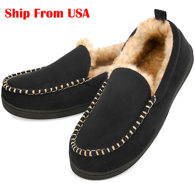Men's Fuzzy Moccasin Slippers Warm Memory Foam Indoor Outdoor House Shoes