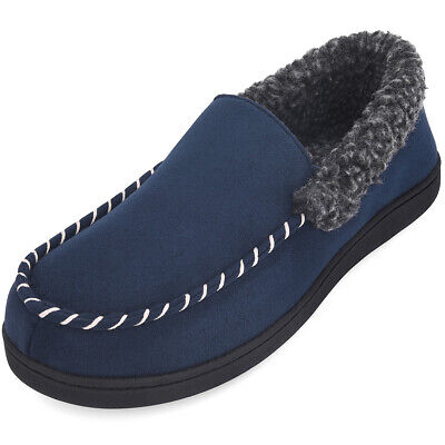 Men Moccasin Slippers Memory Foam Indoor Outdoor House Shoes