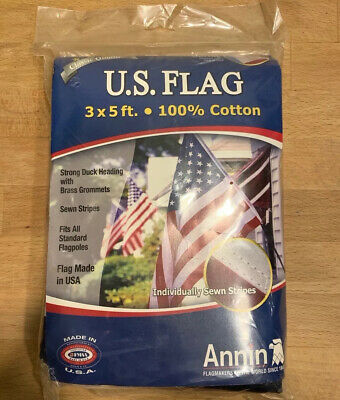 Vintage Annin Flagmakers AMERICAN FLAG 3x5 ft 100% Cotton SEWN STRIPES BRASS NEW