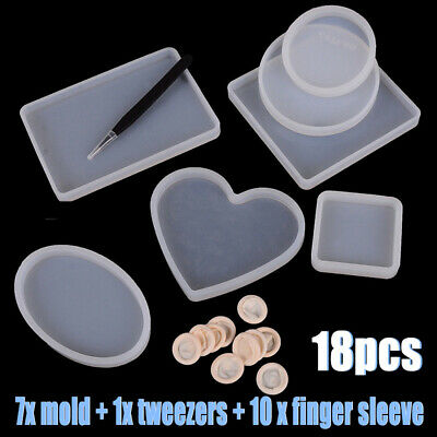 18pcs/set Epoxy Resin Molds For DIY Silicone Coasters Jewelry Making Mould Kits