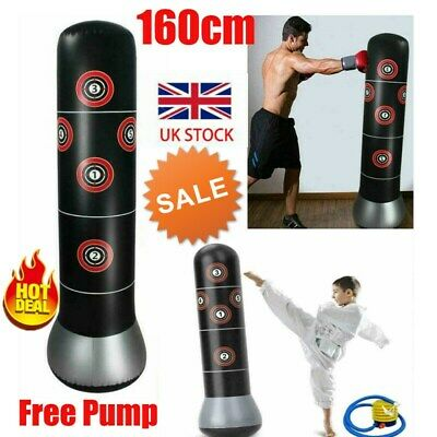 5.5FT Heavy Duty Free Standing Boxing Punch Bag Kick MMA Martial Training + Pump