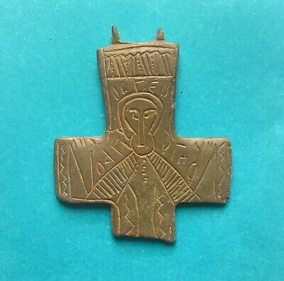 Beautiful Ancient Byzantine Bronze Encolpion Cross with engraved Saint VI-XI AD
