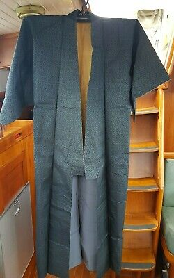 Fab Blue With Black Pattern Vintage Japanese Full Length Kimono
