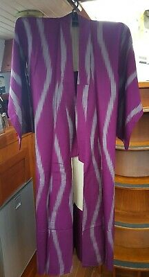 Lovely Purple With Grey Pattern Vintage Japanese Full Length Kimono