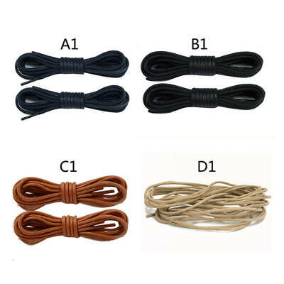 4 Colors Shoelaces Round Bootlace Sneaker Martin Shoe Laces Waxed Leather Strap
