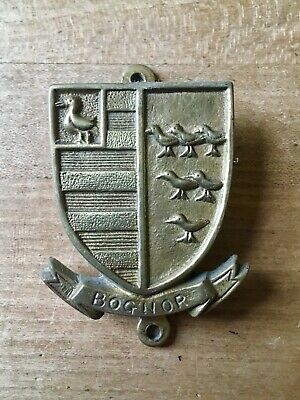 Brass Door Knocker Bognor Crest Shield Birds Hardware Salvage Vintage Small Old