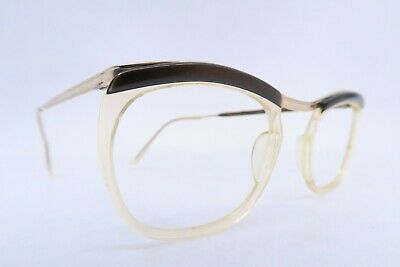 Vintage 50s eyeglasses frames gold filled brown brow Doublé Or Laminé France