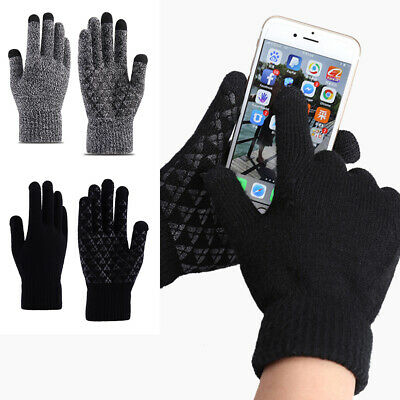 Winter Warm Touchscreen Gloves for Women Men Knit Wool Lined Texting #ZB1