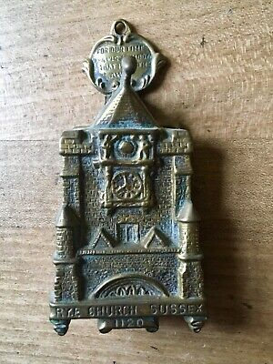 Antique Brass Door Knocker Old Vintage Sussex Rye Church Clock Small