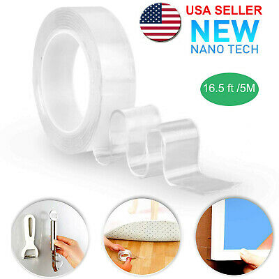 5M/16.5Ft Nano Magic Tape Double-Sided Traceless Washable Adhesive Invisible Gel