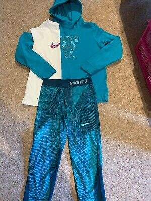Girls Nike Pro Training Outfit Hoodie Tshirt Leggings Size L Age 12-13 Years VGC