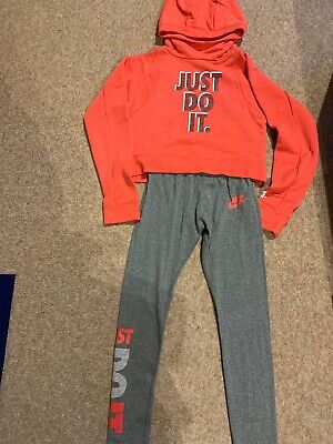 Girls Nike Training Outfit Hoodie, Leggings Tshirt Size M Age 10-12 Years.  VGC