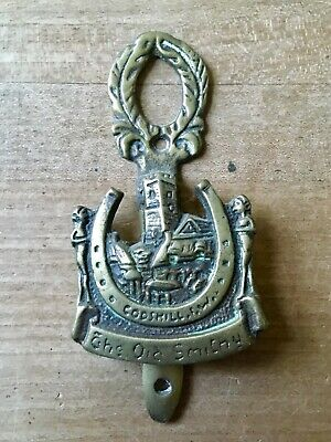 Vintage Brass Door Knocker The Old Smithy Codshill Horse Shoe Small Cast Brass
