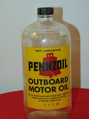 Vintage Pennzoil Glass Quart Oil Bottle