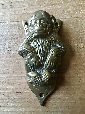 Vintage Brass Door Knocker Monkey Chimpanzee Small Cast Brass