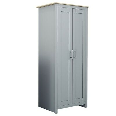 Traditional 2 Door Double Wardrobe in Soft Grey /Oak Tops.Matching Range in Shop