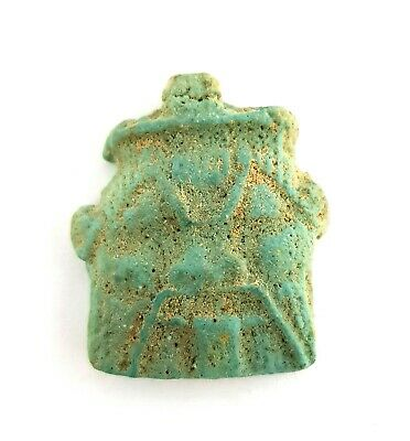 Bes Egyptian Ancient Amulet Faience God Rare Antique Egypt Period Statue Late