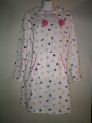 Size 12-14 Star Print Fleece Dressing Gown With Hood Vgc