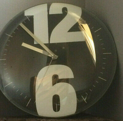 Karlsson Domed Glass Face BLACK WHITE Modern Home Kitchen Office Wall Clock