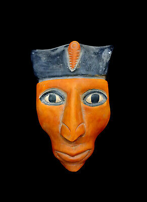 Mask Stone Statue Ancient Egyptian Pretty Antique Hieroglyphic Bust Bead Mummy