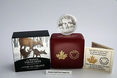 """$20 Canadian 2914 WHITE TAILED DEER  """"A Doe and her Fawns""""  1 oz.  - Limit 7,500"""