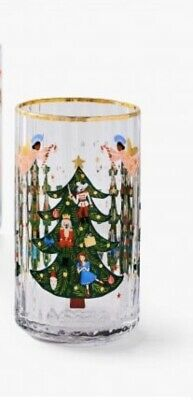 2 Anthropologie Rifle Paper Co Nutcracker Juice Glasses Christmas Tree NEW 2019