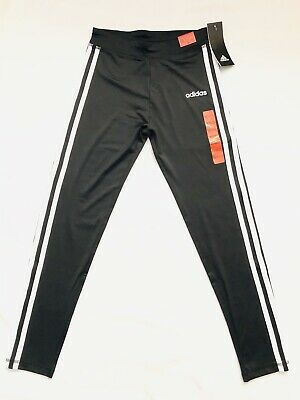 Adidas Girl's Size Medium 10/12 M Black Three White Stripes Pants Leggings NWT