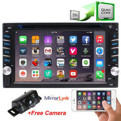 Double din Car Stereo Android 9.0 DVD Radio Player GPS Bluetooth 4G WIFI +Camera