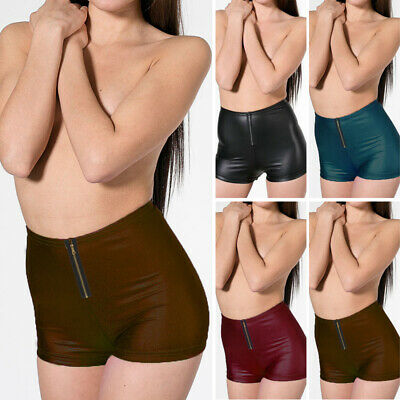 Womens Lady Sexy Faux Leather Wet Look Slim Fit Shorts Casual Underwear Shorts